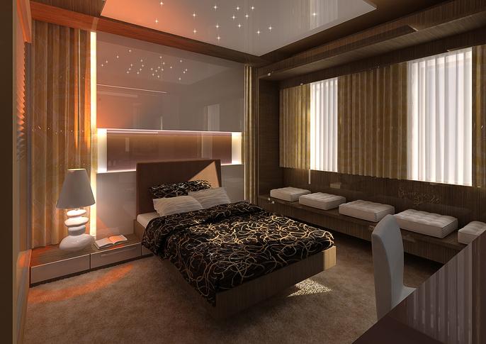 Hotelový pokoj s otevřenou kouplenou  AŤÁK DESIGN